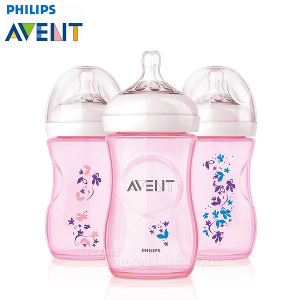 Philips AVENT - Шише за хранене Natural 260 ml PP розово с цветя 0463
