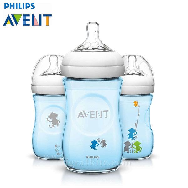 Philips AVENT - Шише за хранене Natural 260 ml PP синьо с маймунки 0463