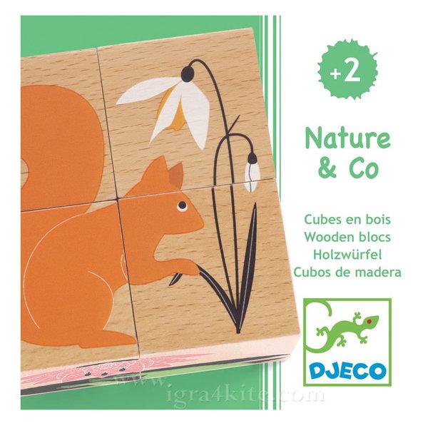 Djeco - Дървени кубчета Nature & Co DJ01902