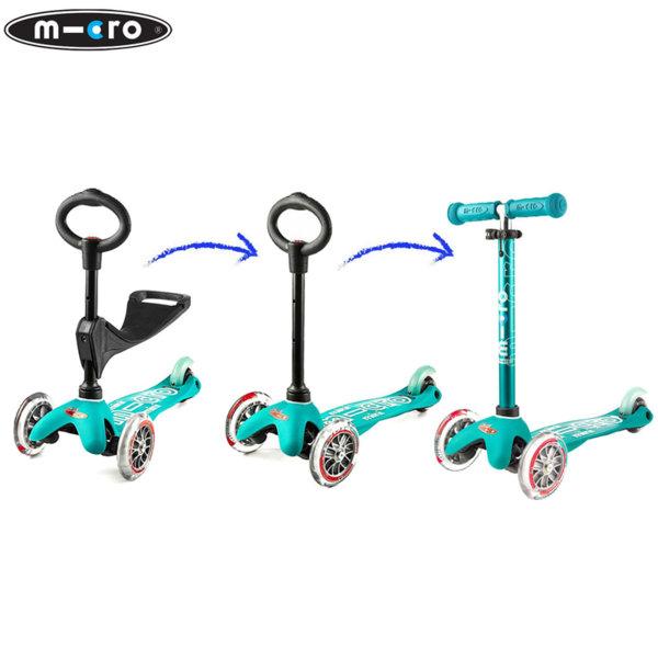 Micro - Детска тротинетка с три колела MINI MICRO 3в1 Deluxe Aqua MMD011