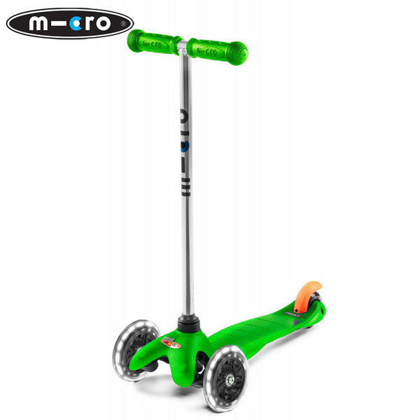 Micro - Детска тротинетка с три колела MINI MICRO LED Green MM0288