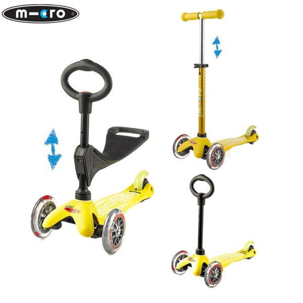 Micro - Детска тротинетка с три колела MINI MICRO 3в1 Deluxe Yellow MMD013