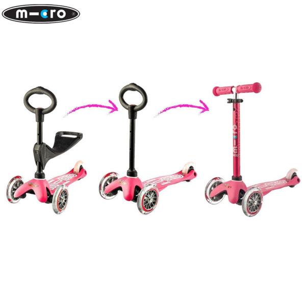 Micro - Детска тротинетка с три колела MINI MICRO 3в1 Deluxe Pink MMD009