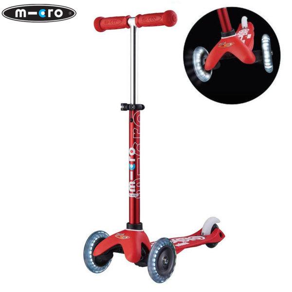 Micro - Детска тротинетка с три колела MINI MICRO DELUXE LED Red MMD052