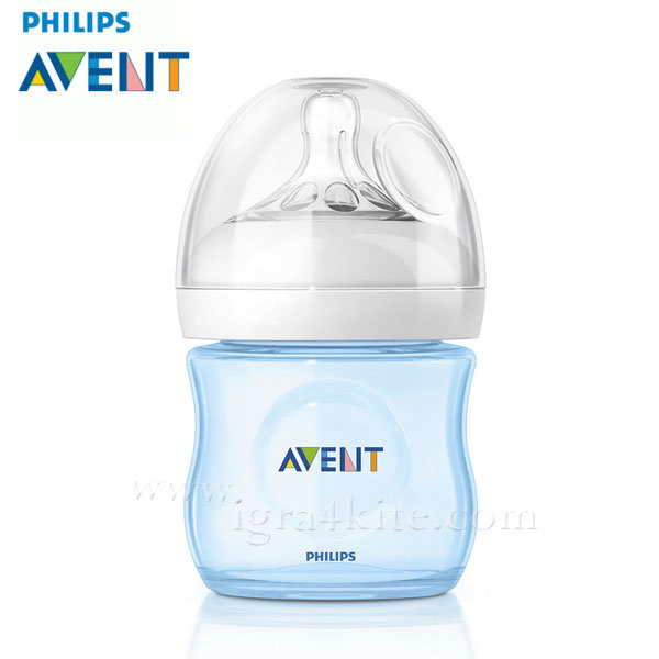 Philips AVENT - Шише за хранене Natural 125ml PP лимитирана серия синьо 0433