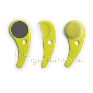 Hoppop - Комплект четка, гребен и огледало Zazo Lime