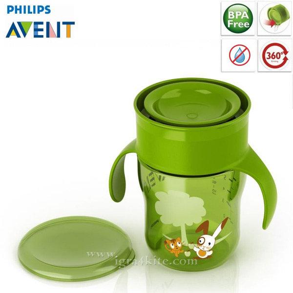 Philips AVENT - Преходна неразливаща се чаша 360° 12м+ зелена 0180