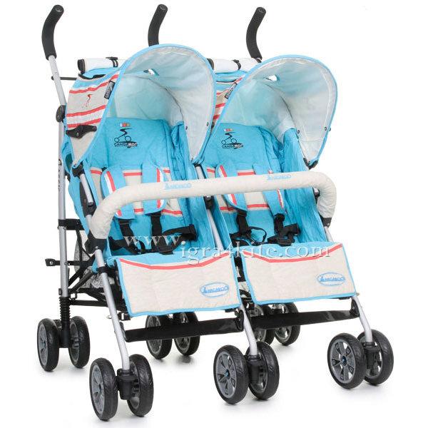Cangaroo - Количка за близнаци Twin Classic Blue 101285