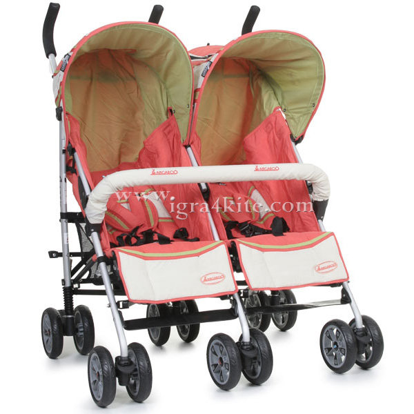 Cangaroo - Количка за близнаци Twin Classic Orange 101284