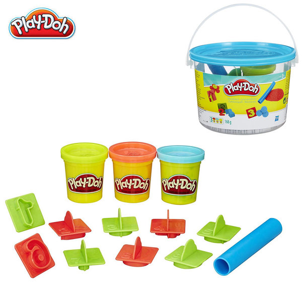 PlayDoh - Комплект 4 цвята пластелини + формички - числа 23414