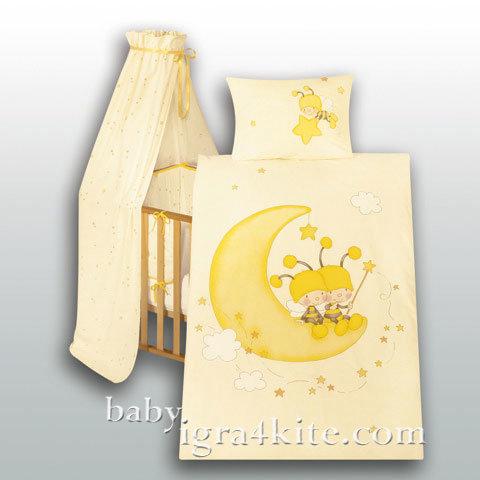 "Herding - Бебешки спален комплект Jana ""Пчелички на луната"""