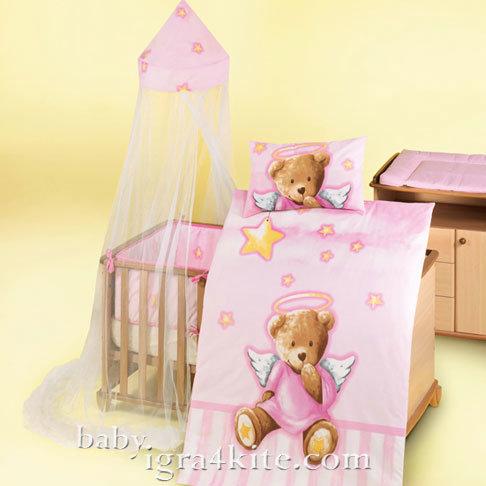 "Herding - Бебешки спален комплект Carola ""Мече ангелче"" 4 части"