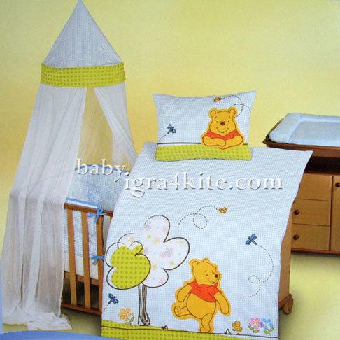 "Herding - Бебешки спален комплект Disney ""Мечо Пух"" 4 части"