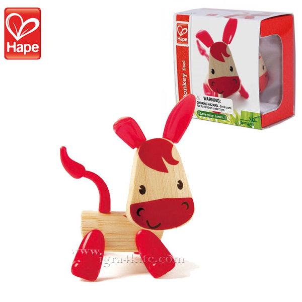 Hape - Детска дървена мини животинка от бамбук Магаренце H5534