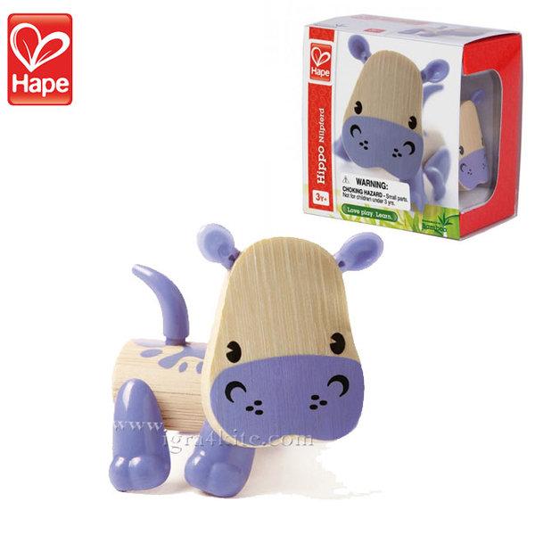 Hape - Детска дървена мини животинка от бамбук Хипопотам H5537