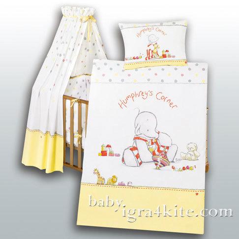 """Herding - Бебешки спален комплект """"Игривото Слонче"""" 4 части"""