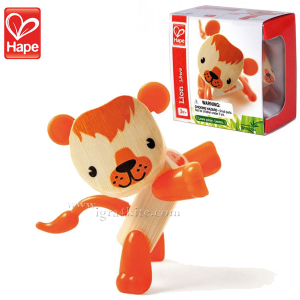 Hape - Детска дървена мини животинка от бамбук Лъв H5541