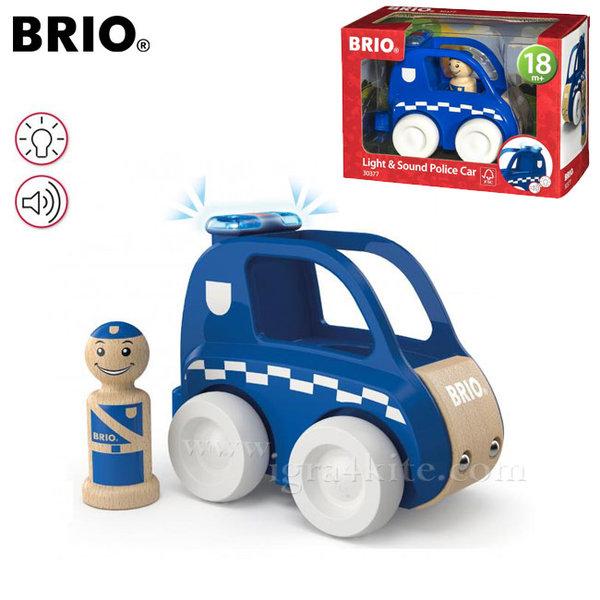 Brio - Дървена полицейска кола със звук и светлина 30377