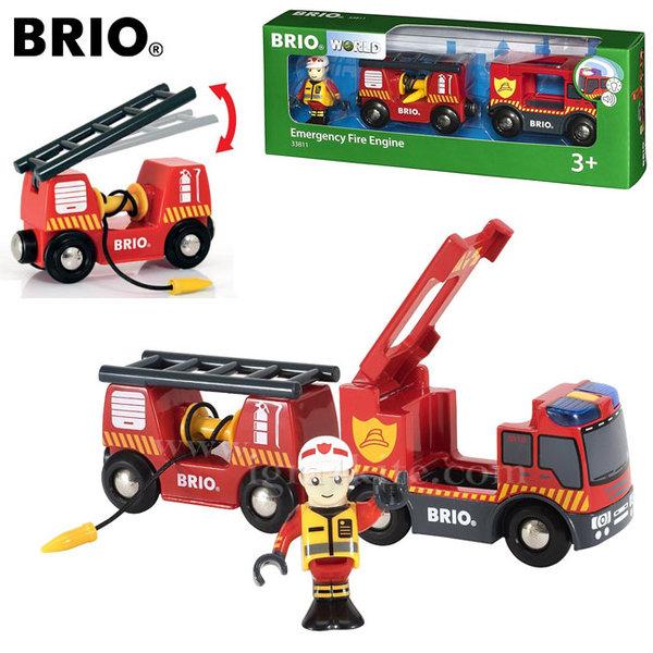 Brio - Дървена пожарна с подвижна стълба, звук и светлина 33811