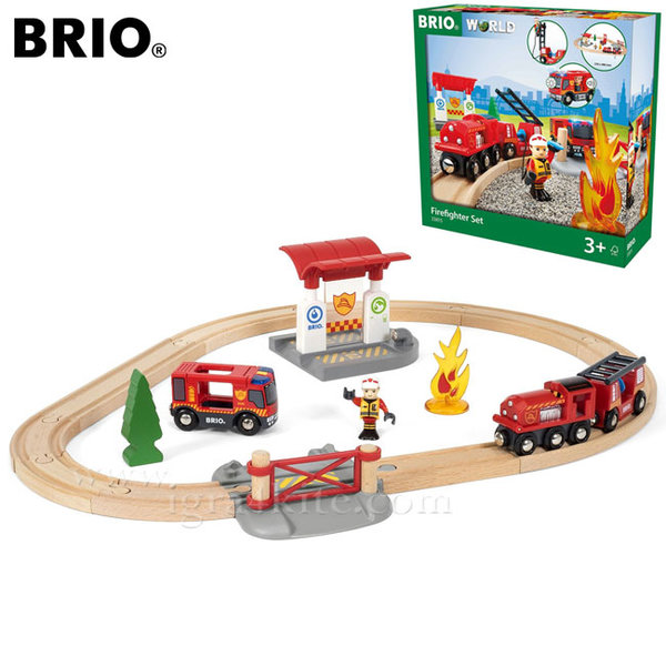 Brio - Дървено влакче с релси Пожарна със звук и светлина 33815