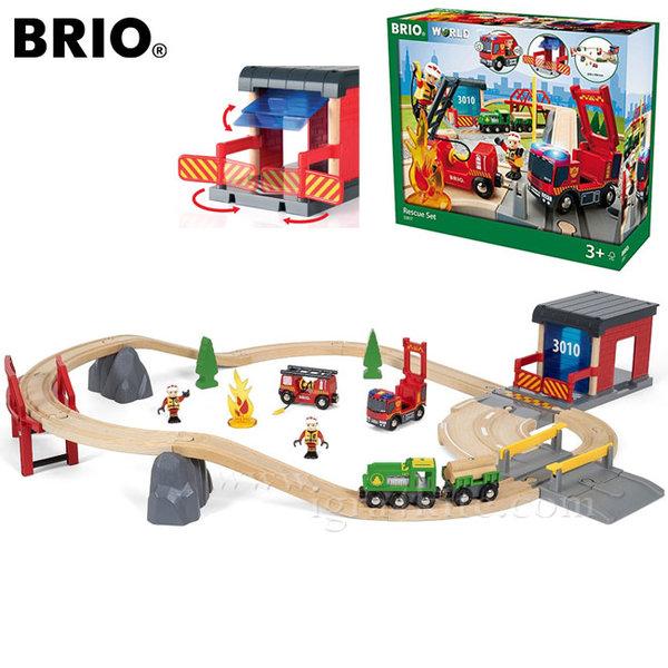Brio - Дървено влакче с релси Пожарна със звук и светлина 33817