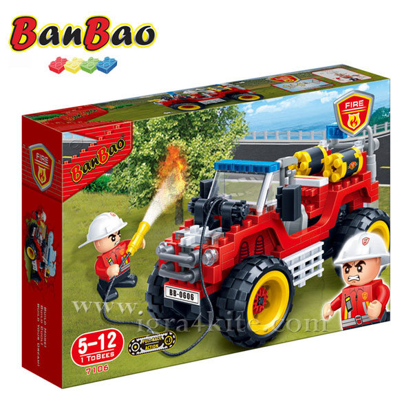 BanBao - Строител 5+ Пожарен джип 7106