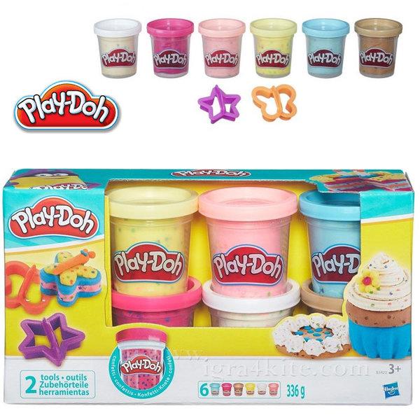 PlayDoh - Комплект 6 цвята пластелин Конфети B3423