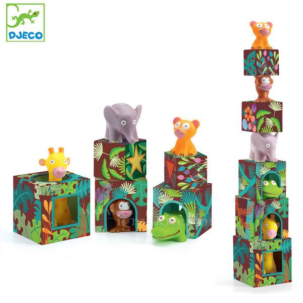 Djeco - Картонени кубчета и гумени животни 09101