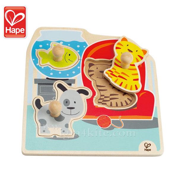 Hape - Детски дървен пъзел Домашни животни H1300