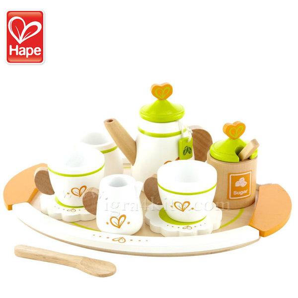 Hape - Детски дървен сервиз за чай за двама H3124