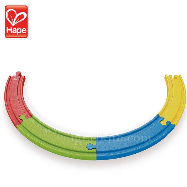 Hape - Дървени цветни извити релси H3804