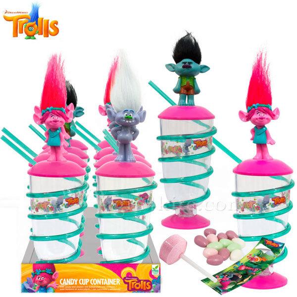 Trolls - Детска чаша със сламка и бонбонки Тролчета 53605