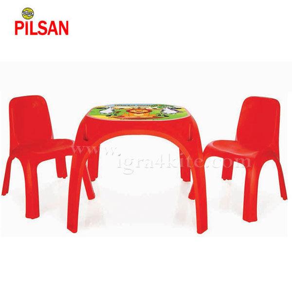 Pilsan - Детска маса с две столчета King червена 03422