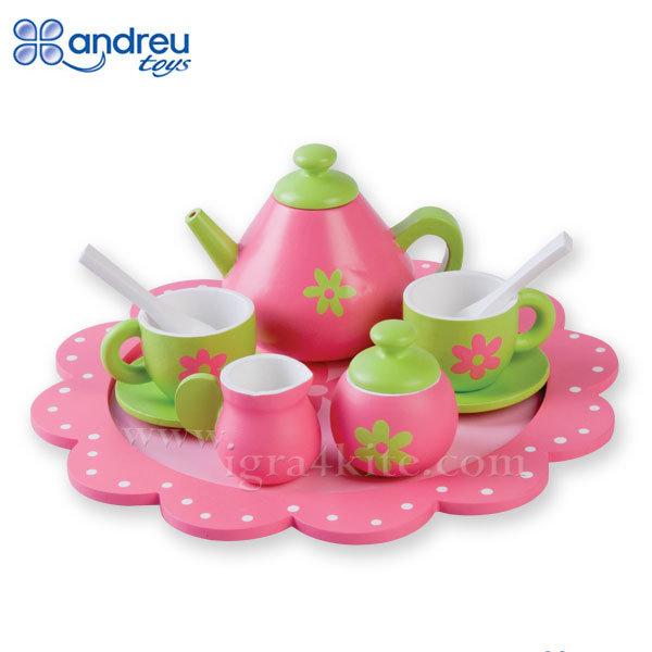 Andreu Toys - Детски дървен сервиз за чай 16427