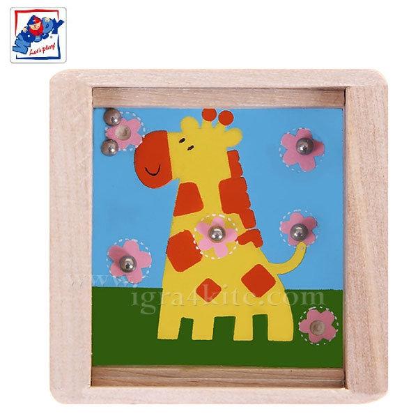 Woody - Дървен лабиринт с топчета Жирафче 90767