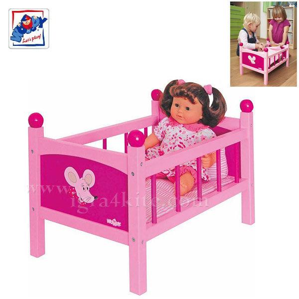 Woody - Детско дървено легло за кукли 91300