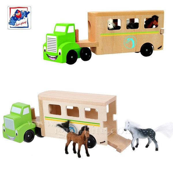 Woody - Дървен детски камион с конюшна 90784