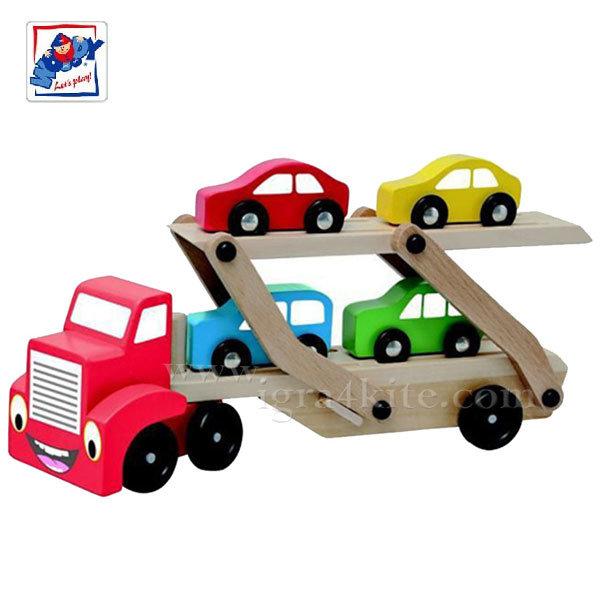 Woody - Дървен камион с автовоз 90785