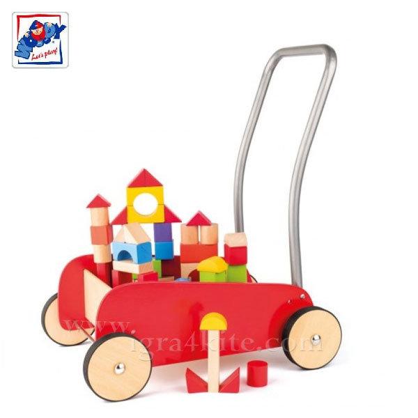 Woody - Конструктор и количка за прохождане 2в1 91807