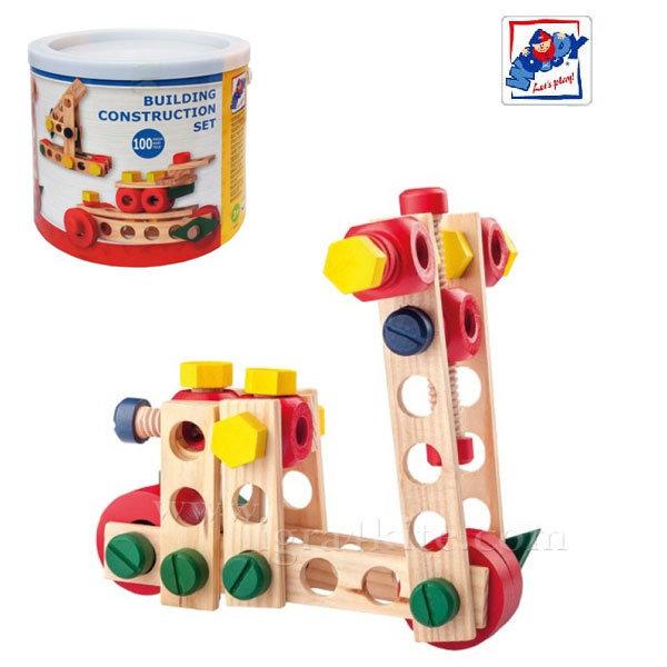Woody - Детски конструктор в кофа 100 части 95001