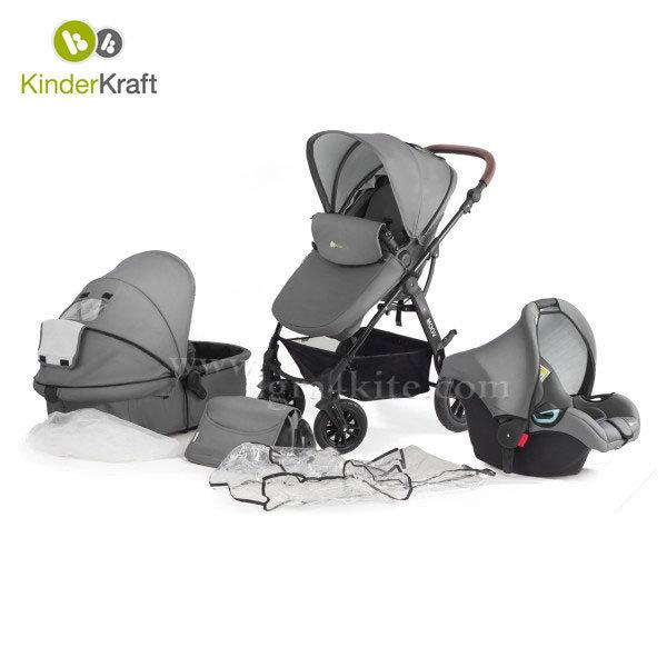 Kinderkraft - Бебешка количка Moov 3в1 сива 99195