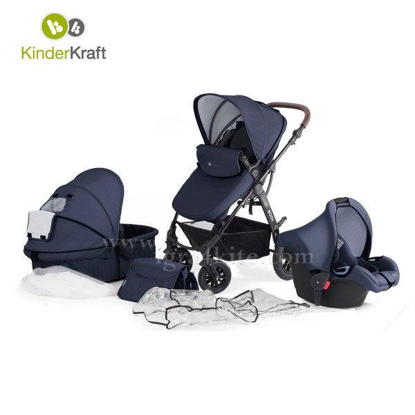 Kinderkraft - Бебешка количка Moov 3в1 синя 99196