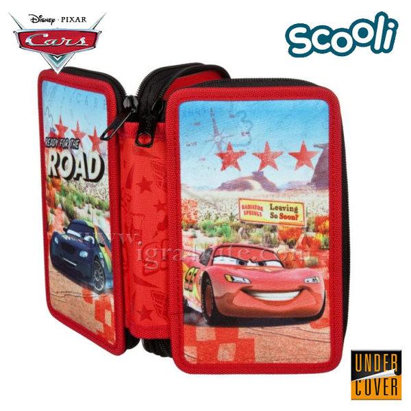 Scooli Disney Cars - Ученически несесер 2 ципа, зареден Колите 26282