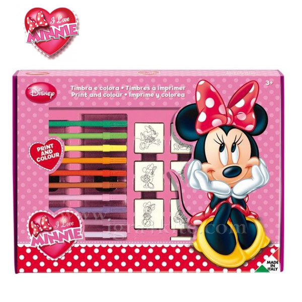 Disney Minnie Mouse - Комплект дървени печати 7 броя Мини Маус 486