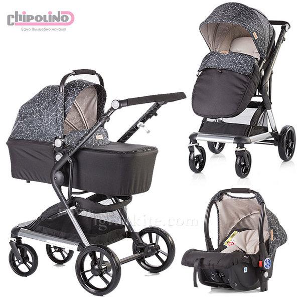 Chipolino - Комбинирана количка Фюжън 3в1 с кош за новородено и стол за кола беж