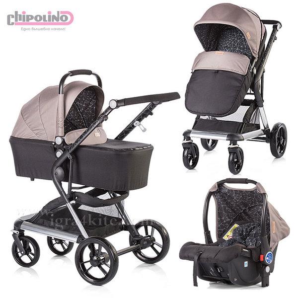 Chipolino - Комбинирана количка Фюжън 3в1 с кош за новородено и стол за кола атмосфера