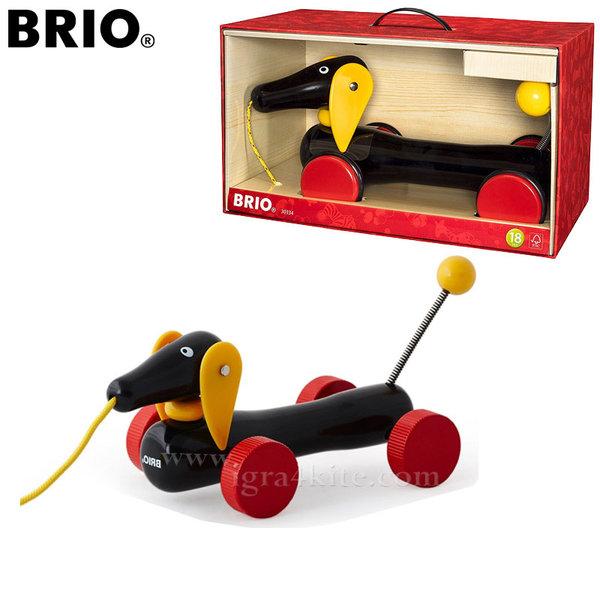 Brio - Дървен дакел за дърпане XL 30334