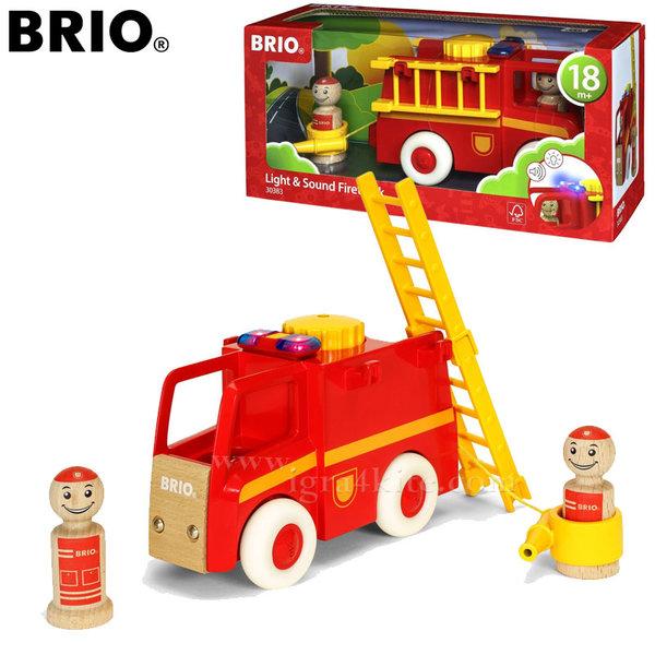 Brio - Дървена пожарна със звук и светлина 30383