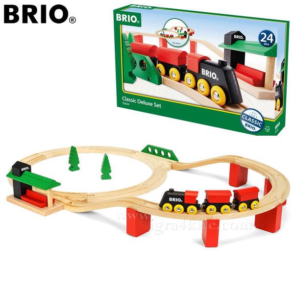Brio - Дървено влакче с релси Classic Deluxe Set 33424