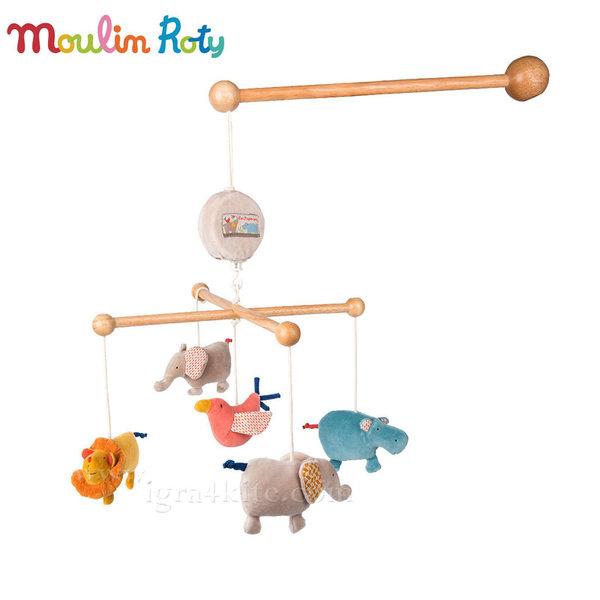 Moulin Roty Бебешка музикална въртележка за легло Животни 658058